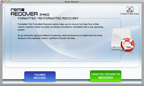 Recover Formatted Mac Volumes - Select Formatted / Reformatted Recovery OPtion