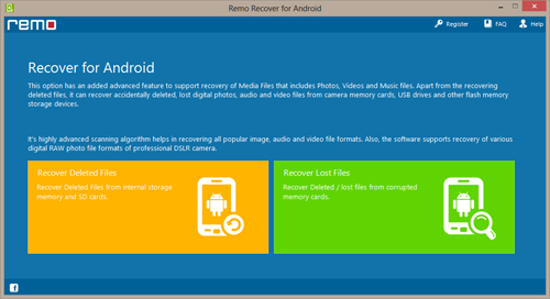 Recover Data from Formatted Android SD Card - Main Window